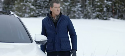 "Former Bond star Pierce Brosnan in ""action-mode"" in the clever new Kia Super Bowl ad"