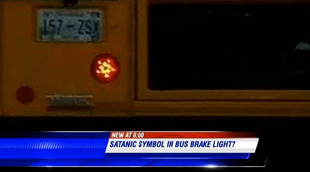 Supposedly Satanic school bus features pentagram brake lights