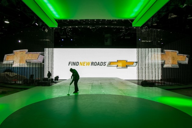 Preparing the Chevy Display at Detroit Auto Show