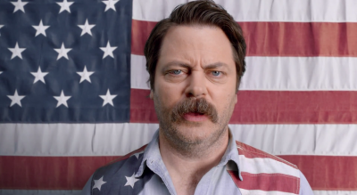 Nick Offerman, best known for the role of parks director Ron Swanson, tells America to man up and watch NASCAR
