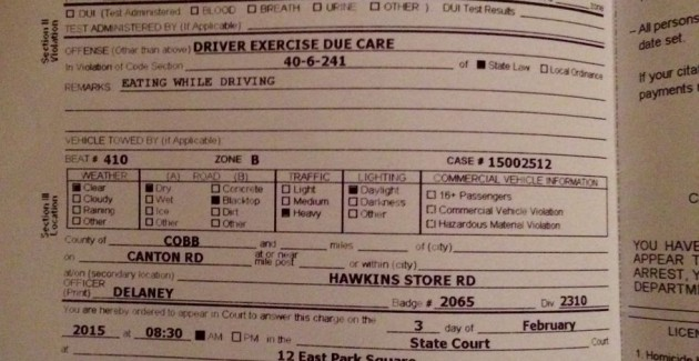 "Madison Turner was given a ticket that specifically states ""driving while eating"""