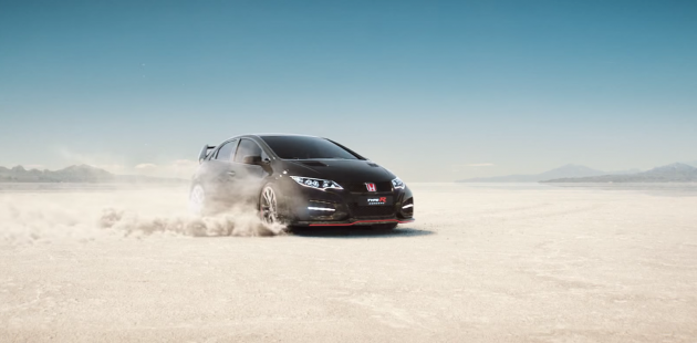 "The Honda Civic Type R speeds by in the new Honda YouTube video ad, ""Keep Up"""