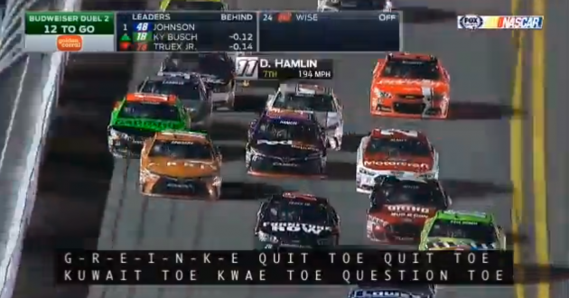 NASCAR closed captioning malfunctions, names MLB players