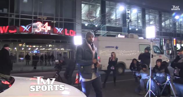 LeBron James films a Kia K900 ad on 34th Street in Manhattan