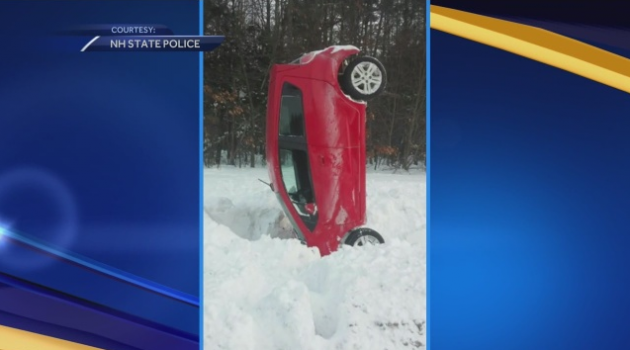 Chevy Spark crashes upright in snow in New Hampshire