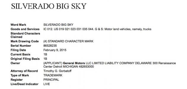 Chevy Silverado Big Sky trademark application