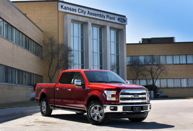 A brand-new 2015 F-150 outside of Kansas City Assembly Plant