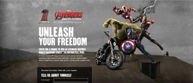 Avengers 2 Age of Ultron Harley-Davidson contest win a motorcycle