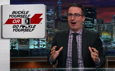 "Jon Oliver provides his own spin on the famous ""Click It Or Ticket"" warning sign"