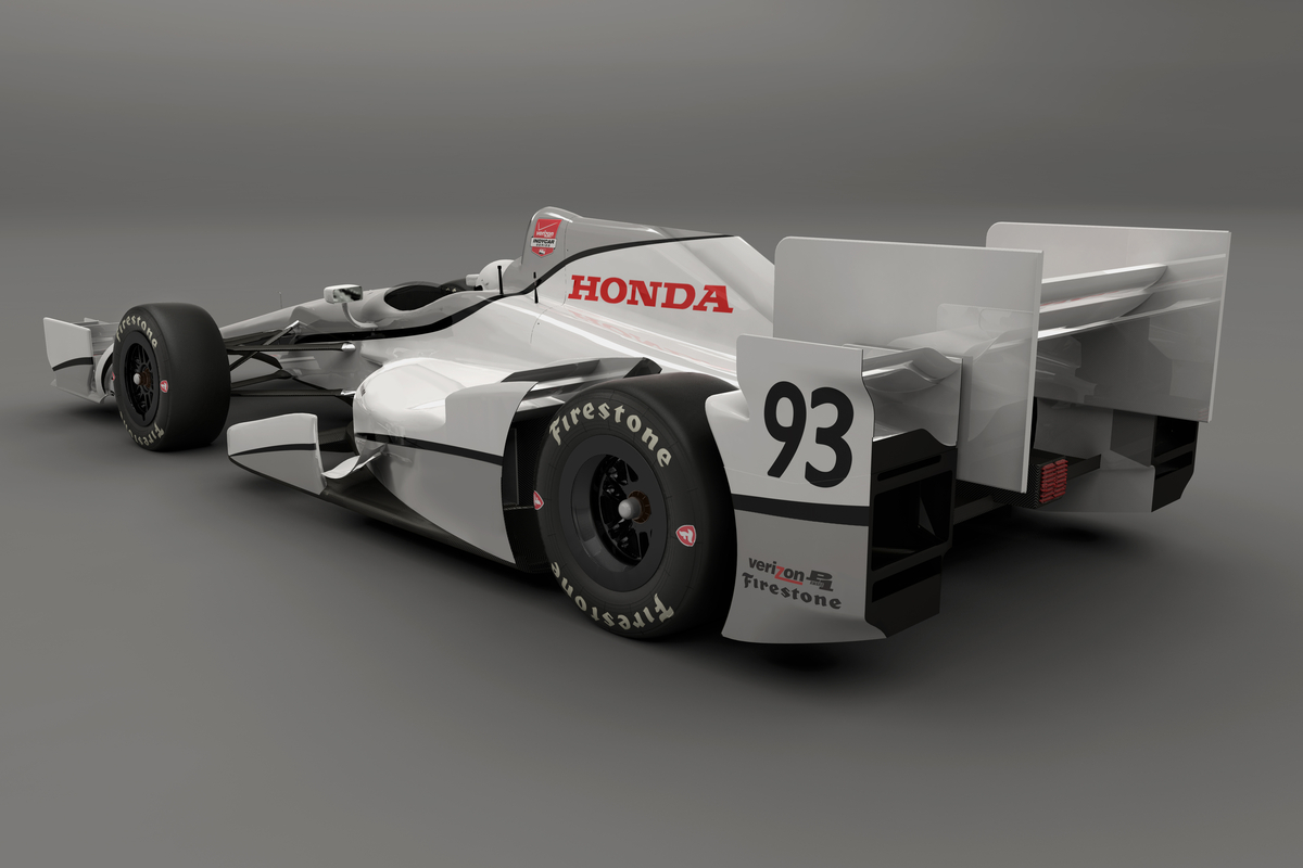 Rear ¾ view of Honda aero kit.