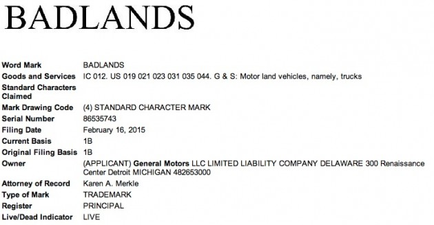GM Badlands USPTO