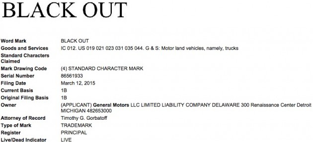 GM Files Black Out Trademark