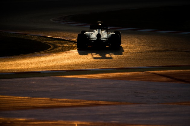 The McLaren-Honda Formula1 car rides off into the sunset