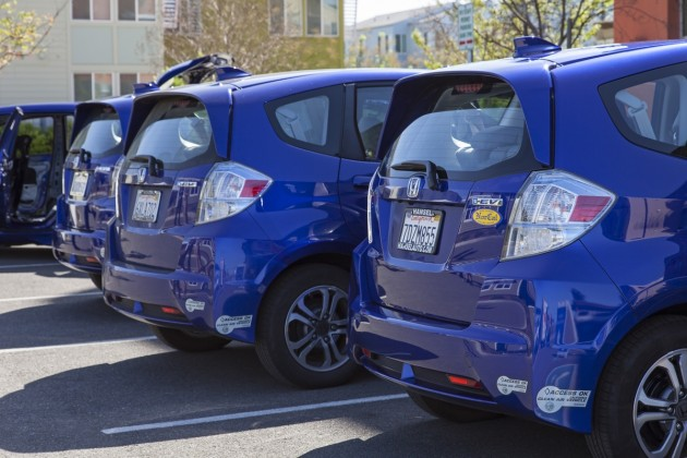 Current Fit EV lessees and their vehicles joined Honda at the Honda Smart Home US in Davis, Calif., on Saturday, March 21 as the company announced a two-year Fit EV lease extension and used vehicle program.