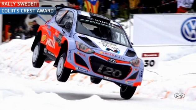 Hyundai WRC rally car jump in Sweden race