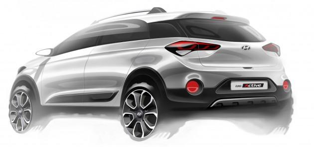 Hyundai i20 Active crossover design sketch rear