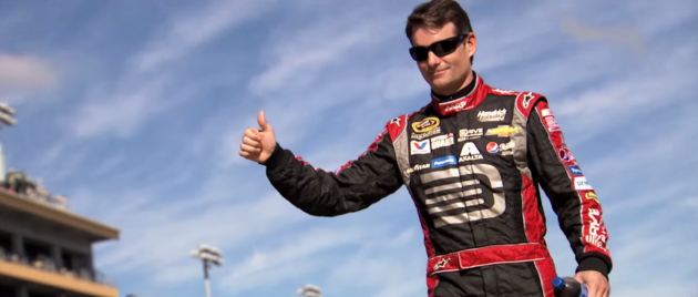 Retiring NASCAR driver Jeff Gordon gives the thumbs up in a new Chevrolet ad