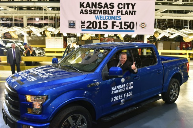 Ford President of The Americas Joe Hinrichs sits in a new F-150 manufactured at Kansas City Assembly Plant