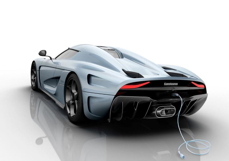 Koenigsegg Regera supercar rear blue