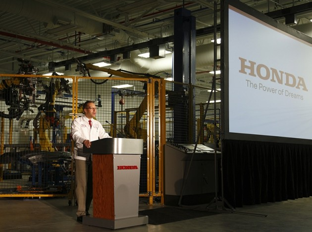 Honda's ScotMcLemore address the crowd at a Workforce Development Event