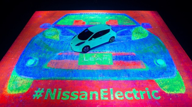 Glow-in-the-dark Nissan LEAF painting