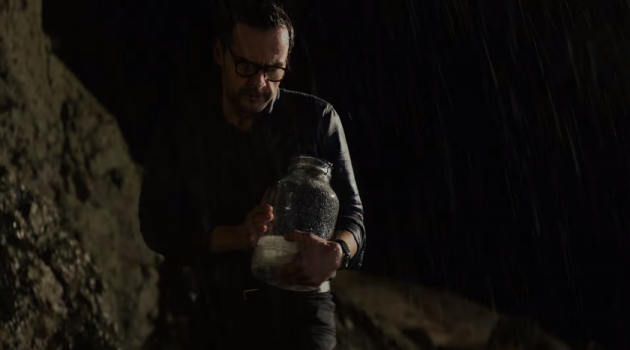 "A man braves a thunderstorm in the 2016 Acura ILX ad, ""Lightning in a Bottle"""
