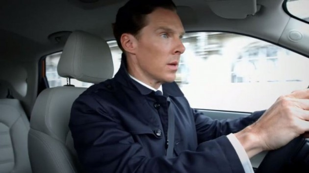 Benedict Cumberbatch as Sherlock Holmes persona in Chinese MG Cars ad driving