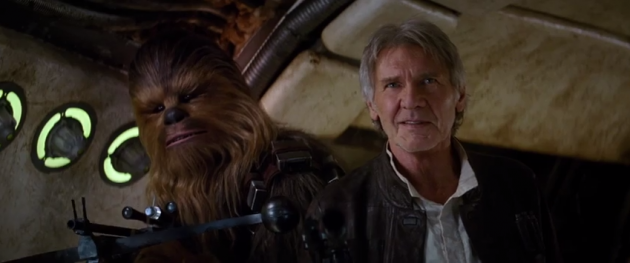 Chewy and Han Solo from the Star Wars: The Force Awakens trailer