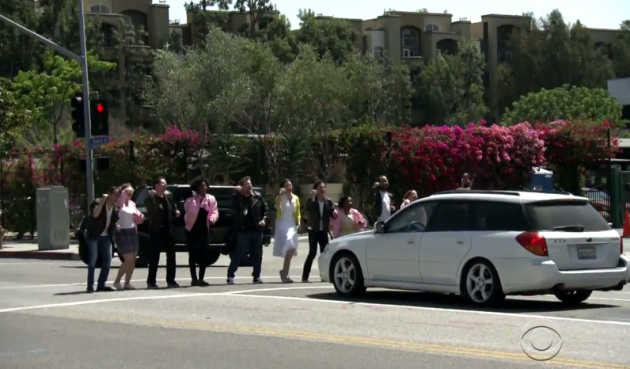 "James Corden and company sing ""We Go Together"" at corner of Beverly and Genesee"