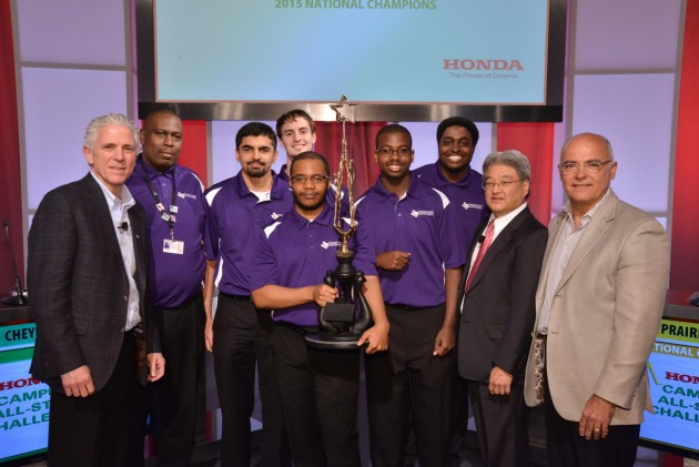 The Prairie View A&M team accept their trophy from Honda executives