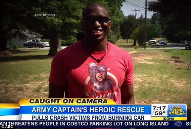 US Army Captain Steve Voglezon hailed as Captain America after saving two in NC car accident