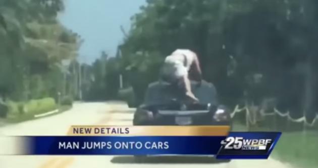 Florida Man Jumps on Cars