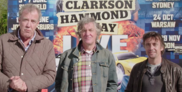 Jeremy Clarkson, Richard Hammond, and James May announce their new live tour
