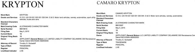 Krypton Camaro Krypton trademark registrations