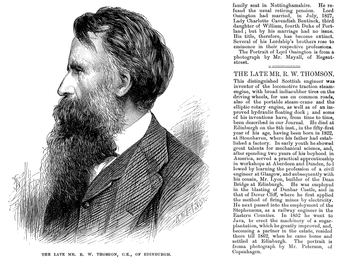 Robert William Thomson's Obituary Illustrated London News March 29 1873