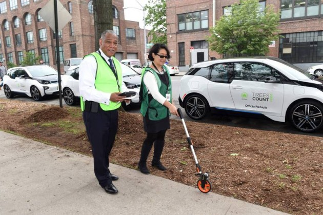 With 20 donated BMW i3 electric vehicles, NYC Parks Commissioner Mitchell J. Silver and NYC Chief Technology Officer Minerva Tantoco map the first trees of the TreesCount! 2015 census during a press conference at Julio Carballo Fields on Tuesday, May 19, 2015 in the Bronx Borough of New York. (Photo by Scott Gries/Invision for BMW of North America/AP Images)