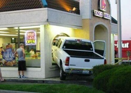 Truck Crashes into Taco Bell Drive-Thru