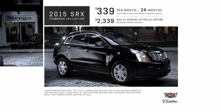 cadillac advertises 2015 srx in new dare greatly spot. Black Bedroom Furniture Sets. Home Design Ideas