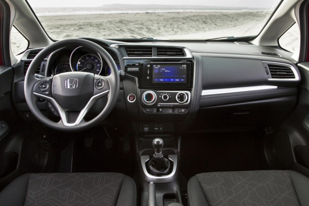 The interior of the new Fit, which goes on sale tomorrow