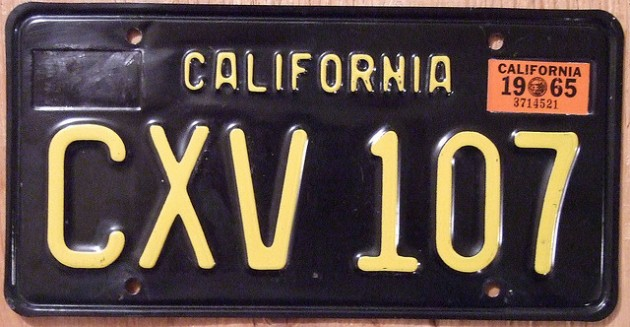 Yellow-on-Black Vintage California License Plate