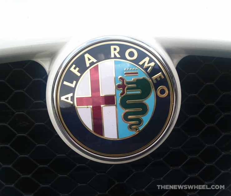 Alfa Romeo badge logo snake eating man