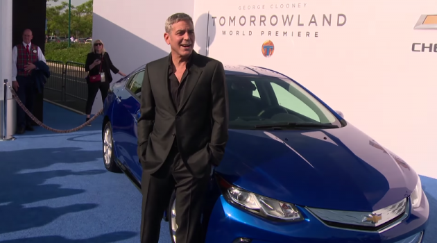 George Clooney drives the next-gen Chevy Volt to the Tomorrowland world premiere