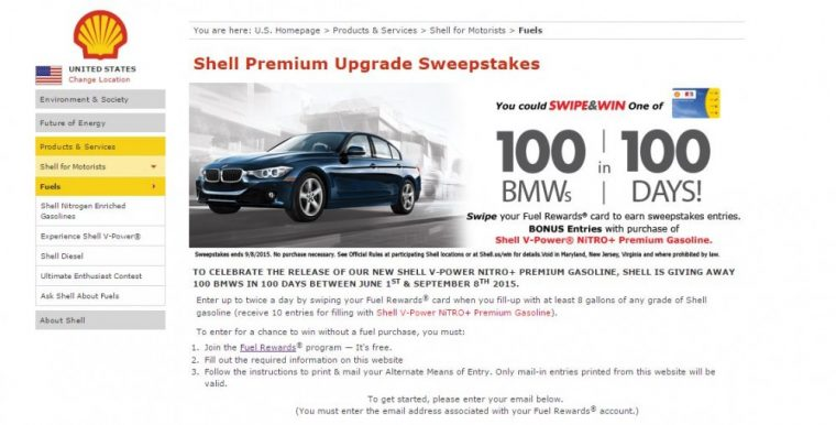 Join Shell Rewards and Enter the 2016 BMW 320i 3 Series Sweepstakes