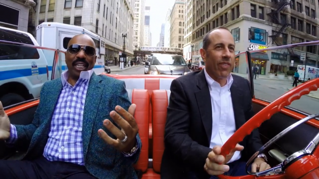 Steve Harvey and Jerry Seinfeld in a 1957 Chevy Bel Air