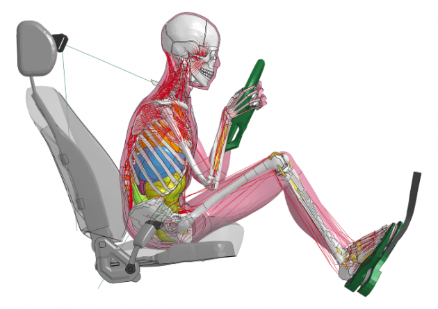 Toyota crash test dummy relaxed