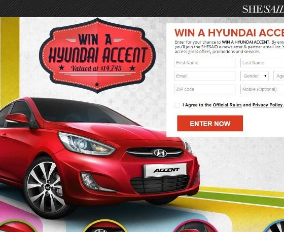win a new car in shesaid s hyundai accent sweepstakes the news. Black Bedroom Furniture Sets. Home Design Ideas