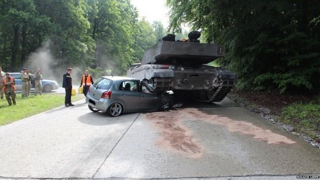 Toyota Yaris crushed by tank