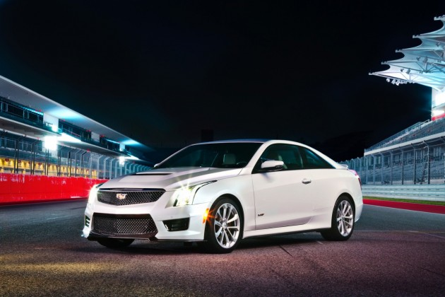 2016 Cadillac ATS-V under the night lights