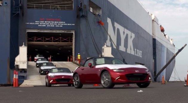 2016 Mazda MX-5s coming off the boat