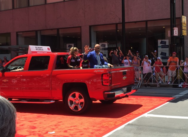 Albert Pujols in a Chevy Silverado 4x4